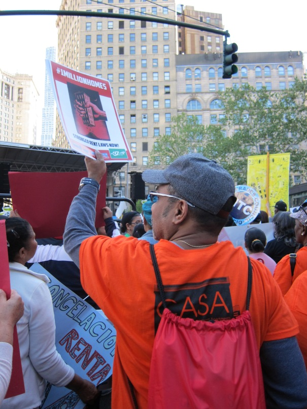 Community Action for Safe Apartments (CASA) tenants support the May 14 rent rally.