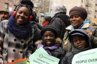 Flatbush Tenant Coalition members demonstrate against predatory equity.
