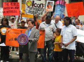 Council Member Garodnick of Manhattan District 4 addresses the crowd at the June 11 press conference