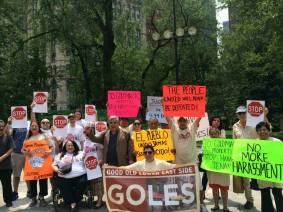 GOLES tenants urge the Council to help us stop Croman at the June 11 press conference
