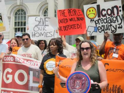 Kerri White of UHAB speaks at the Stabilizing NYC press conference on June 11, 2015
