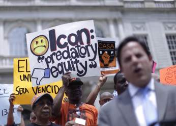 Tenant signs denounce Icon, one of Stabilizing NYC's target landlords