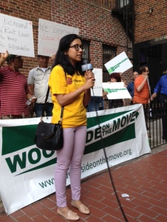 Nahida Uddin of Chhaya CDC speaks in support of the Corona tenants.